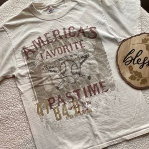 Hanes Beefy Historical Baseball Shirt Cream Medium